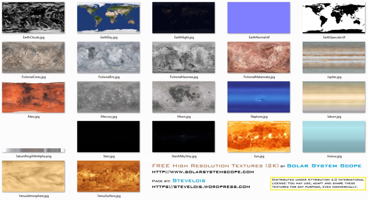 Planet Textures (2K) by Solar System Scope   Stevie's corner